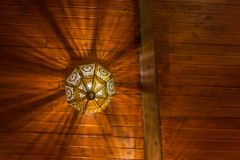 The wood ceiling of a tearoom royalty free stock photo