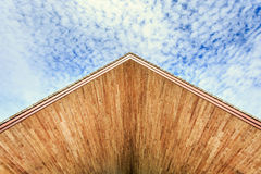 Wood ceiling texture and view to the blue sky Stock Photos