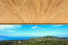 Wood ceiling texture and view to the sea Stock Photos