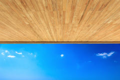 Wood ceiling texture and view to the sea Royalty Free Stock Images