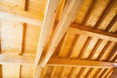 Wood ceiling under construction Stock Images