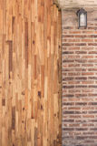 Wood and cement brick wall design of interior Stock Photo