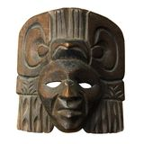 Wood central america mask. From Guatemala or Nicaragua : indian face. Isolated on white background with clipping path Royalty Free Stock Photos