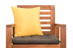 Wood chair with cushion. Isolated on white background royalty free stock photo