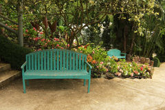 Wood chair in garden Royalty Free Stock Photography