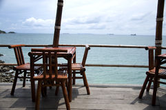 Wood chair by the sea in Koh Sichang Stock Photography