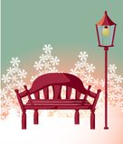 Wood chair ,streetlight ,snowflake Stock Photo