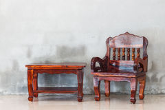Wood chair and table furniture Stock Photo