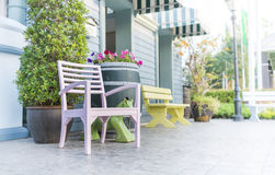 Wood chair. View of a large front porch with wood chairs Royalty Free Stock Photos