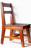 Wood chair with white wall Stock Photo