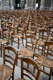 Wood chairs in Catholic cathedral Royalty Free Stock Photography