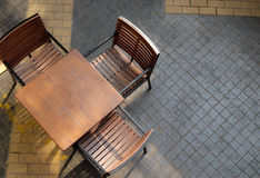 Wood chairs and table Stock Photo