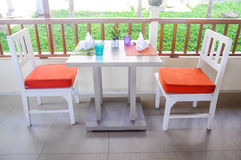Wood chairs and tables Royalty Free Stock Images