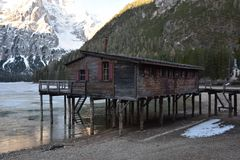 Wood chalet in the lake braies dolomites south tyrol italy Stock Photos