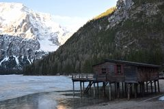 Wood chalet in the lake braies dolomites south tyrol italy Stock Image
