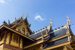 Wood chapel in Wat Ban Den, Chiangmai Thailand Stock Images