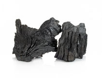 Wood charcoal isolated on white background.  Stock Photo