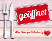 Wood Checked Cloth Knife Fork Sign Geoeffnet Royalty Free Stock Photo