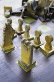 Wood chess pieces. Pieces wooden chess, detail of some old wooden pieces, game of wit Royalty Free Stock Images