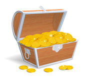 Wood chest full with gold coins Royalty Free Stock Photo