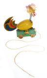 Wood chicken pull toy. Wooden chicken pull toy with nodding head on spring royalty free stock photos