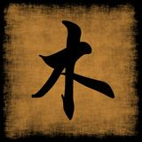 Wood Chinese Calligraphy Five Elements. Grunge Set Royalty Free Stock Image