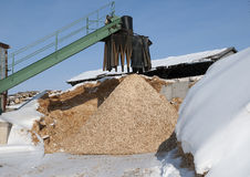 Wood chip conveyor Royalty Free Stock Images