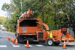 Free Wood Chipper Blowing Tree Branches Cut A Tree Chipper Or Wood Chipper Is A Portable Machine Used For Reducing Wood Into Smaller Stock Image - 159614791