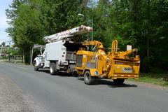 Wood Chipping Truck and Mobile Machine Royalty Free Stock Image