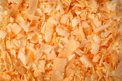Wood chippings. Arolla pine wood chippings background royalty free stock photography