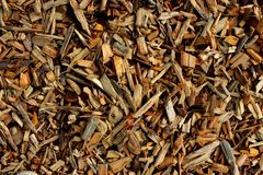 Wood chips for creating chipboard or lining. Photo Small wood chips for creating chipboard or lining royalty free stock images