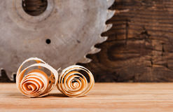 Wood chips and disk circular saw. Stock Image