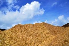 Wood chips mountain Stock Photos