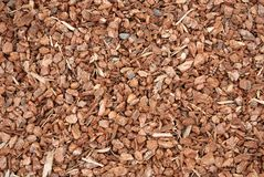 Wood chips used for garden mulch Royalty Free Stock Images
