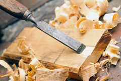 Wood chisel - vintage carpentry woodworking workshop Stock Photography