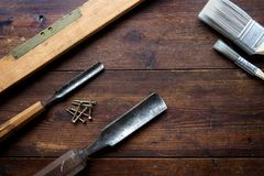 Wood chisels and spirit level Stock Photos