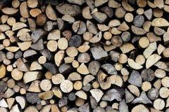 Wood chock i skogen Arkivbild