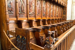 Wood choir stalls in cathedral Royalty Free Stock Photography