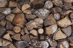 Wood chopped firewood stacked on the stack. Woodpile of cut tree Royalty Free Stock Photo