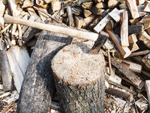 Wood chopper ax in block for chopping firewood Royalty Free Stock Photo