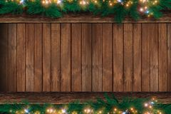 Wood Christmas Backdrop. Wooden Wall with Christmas Ornaments on the Top and Bottom. Holiday Copy Space Design Royalty Free Stock Photo
