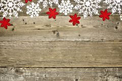 Wood Christmas background with snowflakes Stock Images