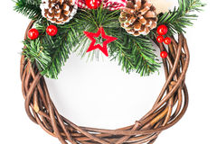 Wood Christmas Frame with ornaments and decorations. Christmas Frame with ornaments and decorations on white background Royalty Free Stock Photos