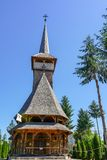 Wood church in the Maramures area. Wood is the main resource of the place in Maramures area in Romania. To make houses, churches, fences, etc.Here, at Sighet royalty free stock photography
