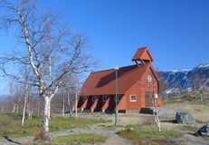 Wood church in Northern Sweden. Near Kiruna Royalty Free Stock Images
