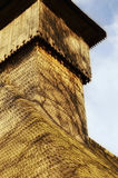 A wood church tower. At sunset Royalty Free Stock Photos