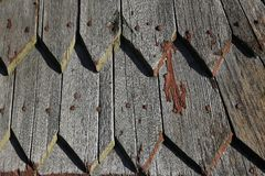 Wood clapboard roof texture pattern background Stock Photography