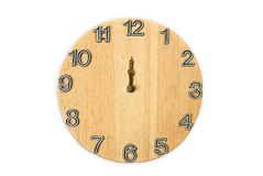 Wood clock. At 12 o clock Royalty Free Stock Photography