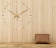 Wood clock. On a wooden wall Stock Photography