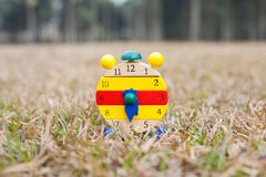 Wood clock on grass Royalty Free Stock Photography